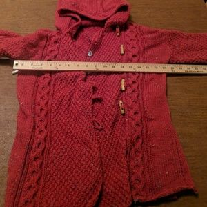 Other - Hand-knitted girls hooded red hooded jacket